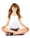 Girl sitting in lotus position Stock Image