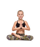 Girl sitting lotus position Royalty Free Stock Photos