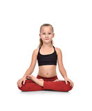 Girl sitting lotus position Stock Photo