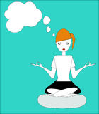 The girl sitting in the Lotus posture, practicing yoga Stock Photo