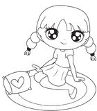 Girl sitting on a mat coloring page. Useful as coloring book for kids Stock Photography