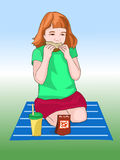 Girl sitting on the mat, and dinner. Picnic in the open air. Fast food. Children's illustration. Vector Stock Photo