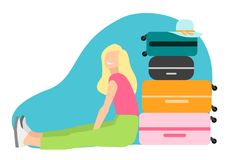 The girl sitting next to suitcases. The girl is going to travel. Sitting near a pile of suitcases. A dream come true. A simple beautiful image Royalty Free Illustration