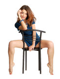 Girl Sitting On Chair Royalty Free Stock Image
