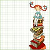 Girl Sitting On The Heap Of Books Royalty Free Stock Images