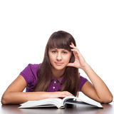 Girl sitting with open book Royalty Free Stock Photo