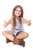 Girl sitting over white Royalty Free Stock Photo