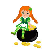 Girl sitting on a pot of gold in the Irish costume. Stock Photos