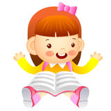 The girl is sitting and reading a book. Education and life Chara Stock Photography
