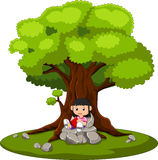 Girl sitting and reading a book royalty free illustration
