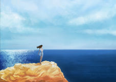 Girl sitting on the rock by peaceful sea at sunset. Royalty Free Stock Photography