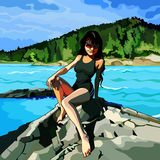 Girl sitting on the rocks by the river. Girl in sunglasses sitting on the rocks by the river Royalty Free Stock Photo