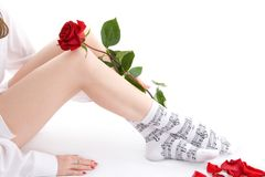 Girl sitting with rose Royalty Free Stock Photography