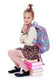 Girl sitting on rows of books Royalty Free Stock Image