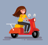 Girl sitting on scooter Stock Photo