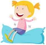 Girl sitting on soft pillow. Illustration Stock Photography