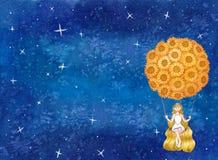 Girl sitting on Swing under Sunflower Balloon with Galaxy Night stock illustration