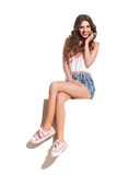 Girl Sitting On A Top Of Banner Royalty Free Stock Photo