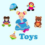 Girl sitting among toys. Colorful things in cartoon style for kids banner vector illustration. Childish design with doll. Clown, bear, car for textile, fabric vector illustration