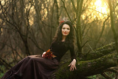Girl sitting on a tree branch Royalty Free Stock Image