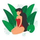 Girl sitting among tropical leaves vacation design vector illustration