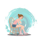 Girl sitting wear roller skate shoe sport style vector Royalty Free Stock Images