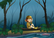 A girl sitting on a wood along the river. Illustration of a girl sitting on a wood along the river Royalty Free Stock Photos