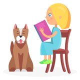 Girl Sitting on Wooden Chair with Book and Pet Stock Photography