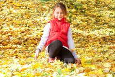 Girl sitting on the yellow maple leaves Royalty Free Stock Photos