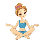 Girl Sitting In Yoga Pose Stock Images