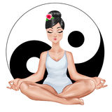 Girl sitting in a yoga position with ying and yang symbol on white background Stock Photos