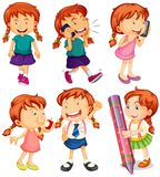 Girl in six different actions Stock Image