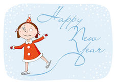 Girl on skate. Happy New Year Stock Image