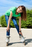 Girl skate street Stock Photography