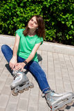 Girl skate street Royalty Free Stock Images