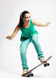 Girl with skateboard Stock Photo