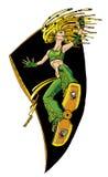 Girl on a skateboard. Stylization, illustration, graphics girl on a skateboard stock illustration