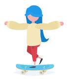 A girl with a skateboard Royalty Free Stock Images