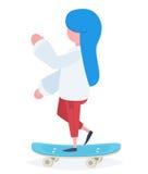 A girl with a skateboard Stock Photo