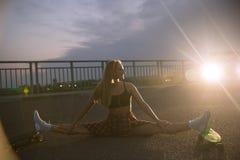 Girl with skateboard stock image
