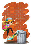 A girl skateboarding near the trashcan Royalty Free Stock Photos
