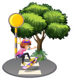 A girl skateboarding at the street Royalty Free Stock Images