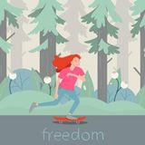 Girl skater character on longboard. Vector flat cartoon illustration handwritten freedom stock illustration