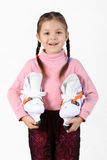 The girl with skates Stock Photography
