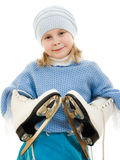 A girl with skates Stock Images