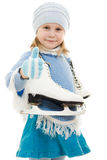 A girl with skates Royalty Free Stock Photo