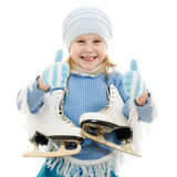 A girl with skates Royalty Free Stock Image