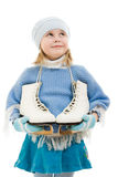 A girl with skates Royalty Free Stock Photography