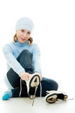 A girl with skates Stock Photography