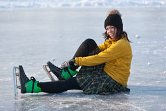 Girl with skates. Stock Photo